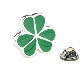 Green Leaf Clover Lapel Pin, Lucky Enamel Pin Tie Tack