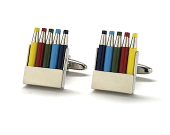Autism Cufflinks Colored Pencils Autism Awareness Cuff Links Silver Tone Bright Colors Fun Coloring Artist Painting Detail Gifts for Artist