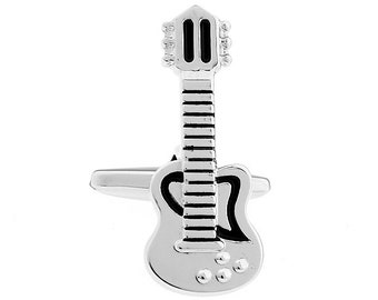 Silver Electric Guitar Cufflinks Black Enamel Full Guitar with Body and Neck Rock and Roll Cuff Links Comes with Gift Box