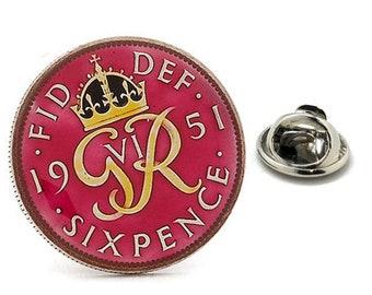 Enamel Pin British 6 Pence Enamel Coin Lapel Pin Tie Tack Collector Pin Royal Red UK England Travel Souvenir Hand Painted Keepsakes Cool