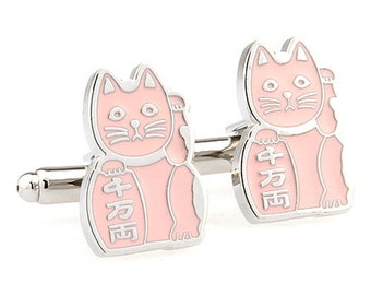 Pink Maneki-neko Japanese Lucky Cat Bring Good Luck to Owner Cufflinks