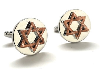Star of David Cufflinks Tustic Copper Enamel Jewish Religious Symbols Hanukkah Faith Bar Mitzvah Shield of David Magen David Silver Cuffs