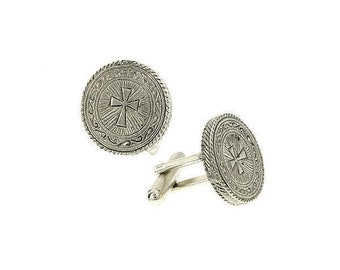 Silver Cross Round Cuff Links Intricate Etched Religious Collection Faith Cufflinks