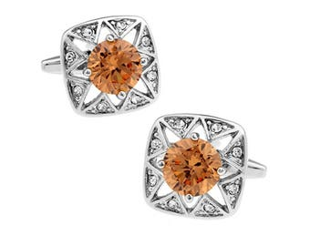 Santa Fe Silver Stars Cufflinks Light Point Orange Emotional Energy Crystal Cool Cuff Links Comes with Gift Box