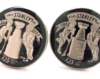 Hockey Cufflinks Hand Painted Stanley Cup Custom Quarter Cuff links Black Enamel Finish Husband Gifts for Dad Gifts for Him Ice Hockey Fan