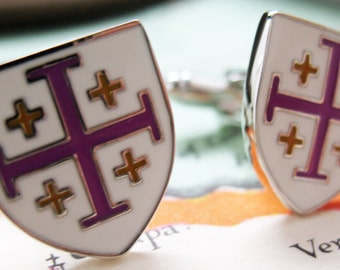 Crusader Cross Cufflinks White with Purple Yellow Enamel Shield Cuff Links