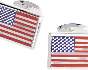 Silver American US Flag Cufflinks Mother of Pearl Blue Red Enamel America United States Cuff Links Comes with Gift Box