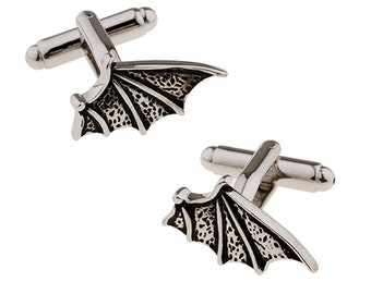 Bat Wing Cufflinks Vampire Bat Dracula Gunmetal Tone Halloween Flying Wing Cuff Links