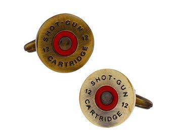Brass Shell Shotgun Cufflinks 3D Detailed Red Cartridges Hunter Cool Fun Unique Bird Cuff Links Shot Gun Bullet Sportsman Gift Box