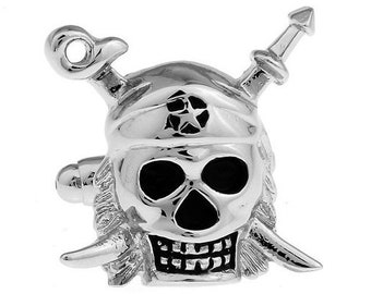 Silver Tone Pirate Skull Cufflinks Ahoy Matey Pirate Skeleton Crossed Swords Cufflinks Cuff Links