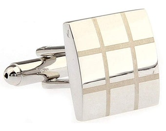 Thick Silver Tone Block with Etched Grid Classic French Cuff Cufflinks Cuff Links Wedding Valentines Day Gift