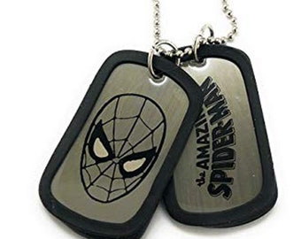 Dog Tag Marvel Comics Black Spiderman Face Double Dog Tag Necklace vintage jewelry