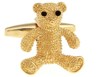 Bear Cufflinks Gold Teddy Bear with Black Crystal Eyes Cufflinks Cuff Links