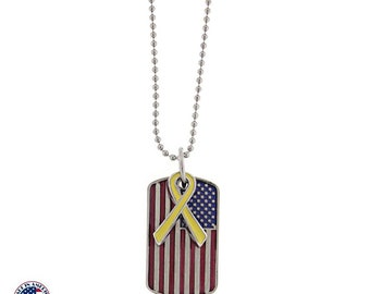 American Flag Dog Tags Show Your Patriotism USA Flag with Yellow Ribbon Necklace Silk Road Jewelry