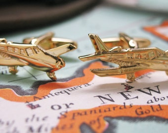 Cessna Airplane Cufflinks Gold Cufflinks Gold Tone Pilot Aviator Cuff Links