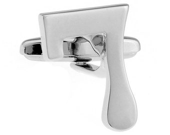 """Silver Tone Number """"7"""" Cufflinks Lucky # 7 Cut Numbers Personal Cuff Links"""