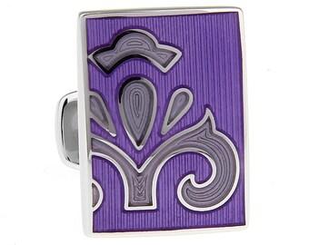 Purple Bold Passion Cufflinks Fleur Enamel Tile  Cuff Links Solid Post Whale Tail Backing Cufflinks