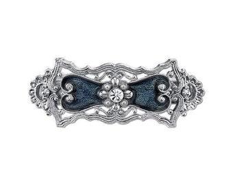 Glistening Victorian Barrette Silver Blue with Pearls and Crystals Elegant Hair Barrett
