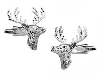 Silver Deer Cufflinks Reindeer Deer Cuff Links Majestic Deer Buck Cufflinks