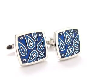 Paisley Cuff Links Men's Cufflinks Blue Square Designer Cut Silver Toned