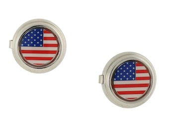 Flag Patriotic Faux Cufflinks Silver Framed Red White and Blue American Flag Button Covers Unique Gift