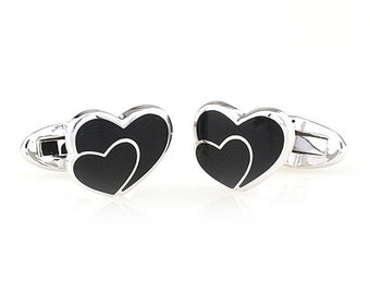 Double Black Heart Cufflinks Enamel Silver Hearts with Love Cufflinks Cuff Links Valentines Groom Father of the Bride Wedding Anniversary