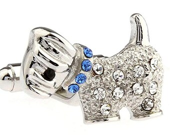 Dog Cufflinks My Scottie Terrier Blue Collar Sparkle Puppy Dog Pet Cuff Links