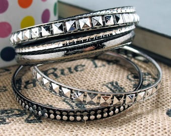 Club'n Bracelet Bangles Silver Toned with Black Accents Mix and Match Bracelets