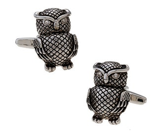 Silver Wise Owl Cufflinks with Black Enamel Accent Crystal Eyes Cuff Links Harry Potter Hogwarts Gryffindor Slytherin Ravenclaw Hufflepuff