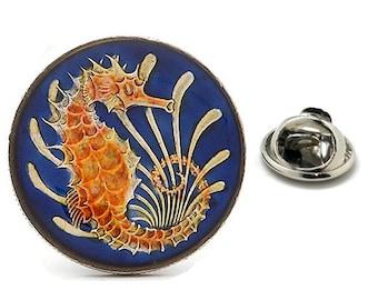 Enamel Pin Singapore Coin Lapel Pin Tie Tack Collector Pin Blue Orange Seahorse Enamel Coin Travel Souvenir Art Hand Painted Authentic Coins