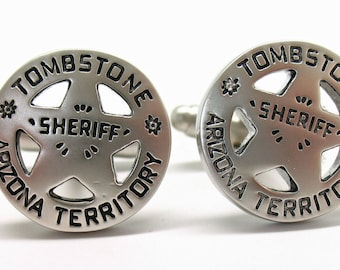 Tombstone Arizona Cufflinks Old West Matte Finish Silver Territory Sheriff Badge Cuff Links