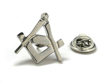 Enamel Pin Masonic Symbol Lapel Pin Freemason Collector Silver Tone Cut Out Compass and Square Tie Tack Comes with Gift Box