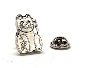 Lucky Cat Enamel Pin, Silver