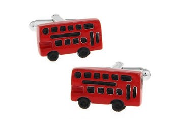 Double Decker Bus Cufflinksr London Red Buses Mass Transport United Kingdom Tourist Stop Cool Fun Unique Cuff Links Comes with Gift Box