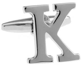 """Classic """"K"""" Cufflinks Silver Tone Initial Alaphabet Cut Letters K Cuff Links Groom Father Bride Wedding Anniversary Father's Day Gift Box"""