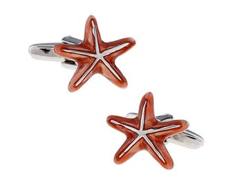 Starfish Cufflinks Hand Painted Enamel Color Warm Ocean Sea Cool Star Fish Sea Stars Cuff Links Comes with Gift Box