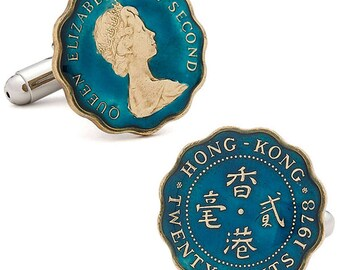 Hong Kong Coin Cufflinks Hand Painted Coin British China Colony King Queen Elizabeth Empire Cuff Links Enameled Coin Cufflinks with Box