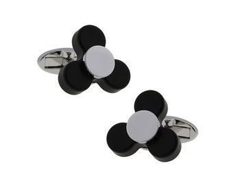 Nervous Spinner Cufflinks Full Working Spinning Cuff Black Silver Bullet Backing Super Fun Cool Unique Gift Box White Elephant Gifts