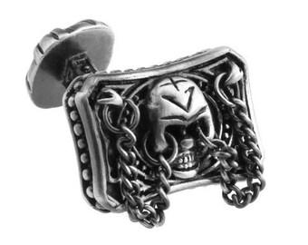 Skeleton Cufflinks Endless Doom Skeleton Gunmetal Chained Details Straight Post Cufflinks Cuff Links Halloween Crazy Cufflinks fun jewelry
