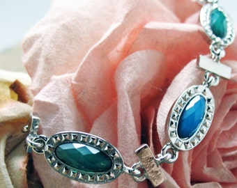 Blue Water Gems Bracelet Antique Silver Tone Silk Road Collection Jewelry