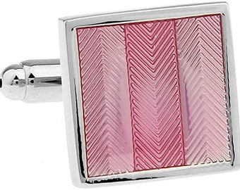 Cufflinks Designer Triple Chevron Stripe Flamingo Pink Square Cuff Links