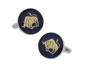 Taurus Zodiac Sign Cufflinks Deep Blue Enamel Gold Tone Symbol from Astrology Cuff Links Comes with Gift Box