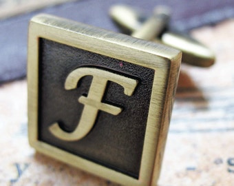F Initial Cufflinks  Antique Brass Square 3-D Letter F Vintage English Lettering Cuff Links for Groom Father of the Bride Wedding Gift Box