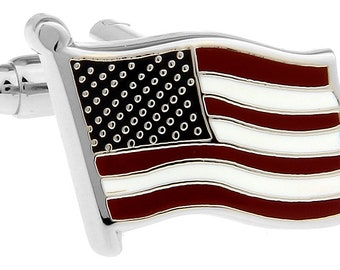 Waving American US Flag Cufflinks Silver Tone Red Blue Enamel America United States Cuff Links Comes with Gift Box