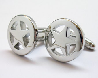 Lone Star Cufflinks Texas Lawmen sheriff Shiny Silver Glossy Tone Personalized Lonestar Old West Cuff Links Gifts for Him Gifts for Dad
