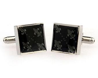 Heavy Antique Black and Silver Square Fleur di Lis Cufflinks Cuffs Links