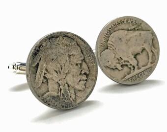 Birth Year Cufflinks United States Old West Buffalo Indian Head Nickel Cufflinks Old Coin Jewelry Money Boyfriend Gift