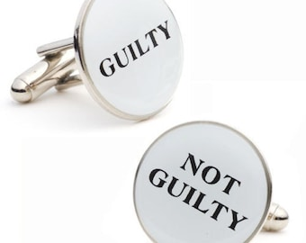 Guilty Not Guilty Cufflinks Round White and Black Enamel Legal Decision Maker Judge Lawyers Cufflinks