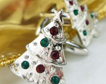 Silver Iced Gemed Christmas Tree Cufflinks Silver Tone with Red and Green Crystal Ornaments Cuff Links