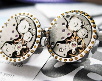 Crystal Watch Movement Cufflinks Vintage Canary Crystal Studded Silver Tone Functional Cuff Links